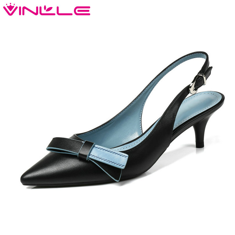 VINLLE 2018 Women Pumps Genuine Leather Pointed Toe Platform Butterfly-Knot Med Heel Slingback Ladies Wedding Shoes Size 34-40 vallkin 2017 women pumps western style butterfly knot med heel pu kid suede pointed toe slingback ladies summer shoes size 34 39