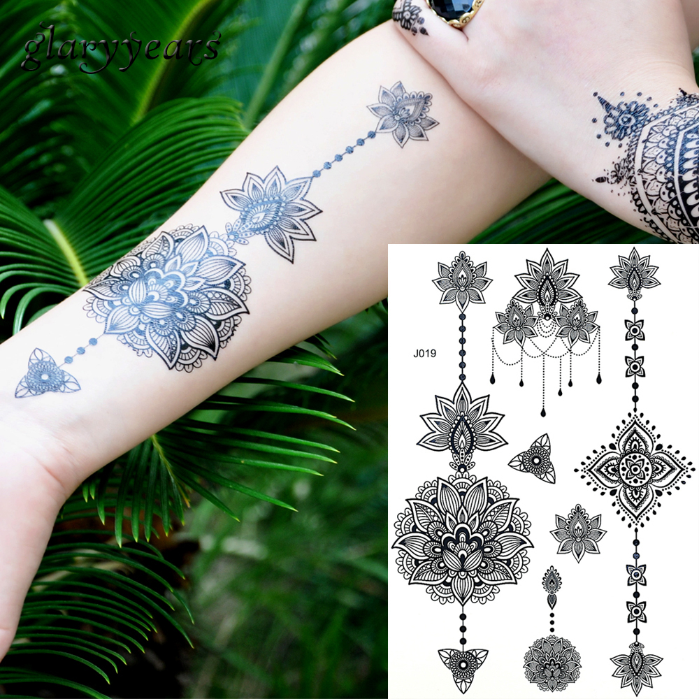 1PC Fashion Flash Waterproof  Tattoo Women Black Ink Henna Jewel  Lace BJ019 Flower Pendant Wed Henna Temporary Tattoo Stick