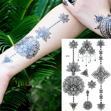 1PC Fashion Flash Waterproof  Tattoo Women Black Ink Henna Jewel Sexy Lace BJ019 Flower Pendant Wed Temporary Stick