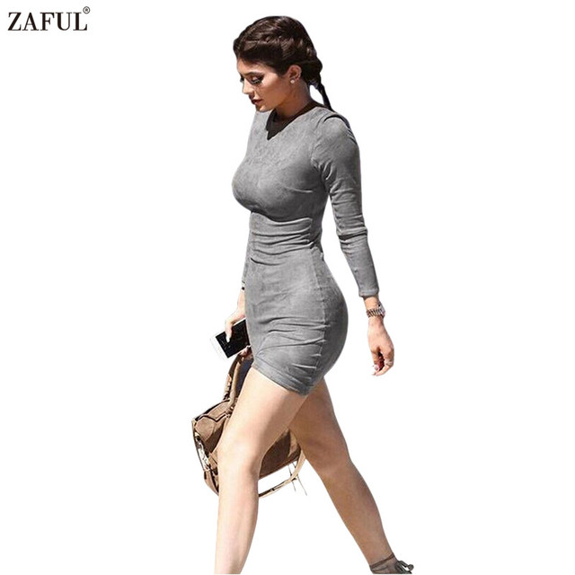 zaful fashion new spring sexy bodycon women dress grey o
