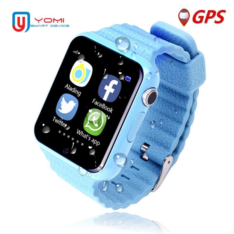 IP67 Impermeabile Astuto di GPS Della Vigilanza V7K A Distanza del Monitor Della Macchina Fotografica Orologi Facebook SOS di Chiamata Smartwatch Android per I Bambini Del Bambino Intelligente Orologio