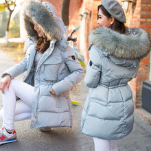 Winter Jacket Women 2015 New White Duck Down Coat Medium Long Parka Thick Fur Collar Hooded Coat Loose Winter Female Jacket Coat