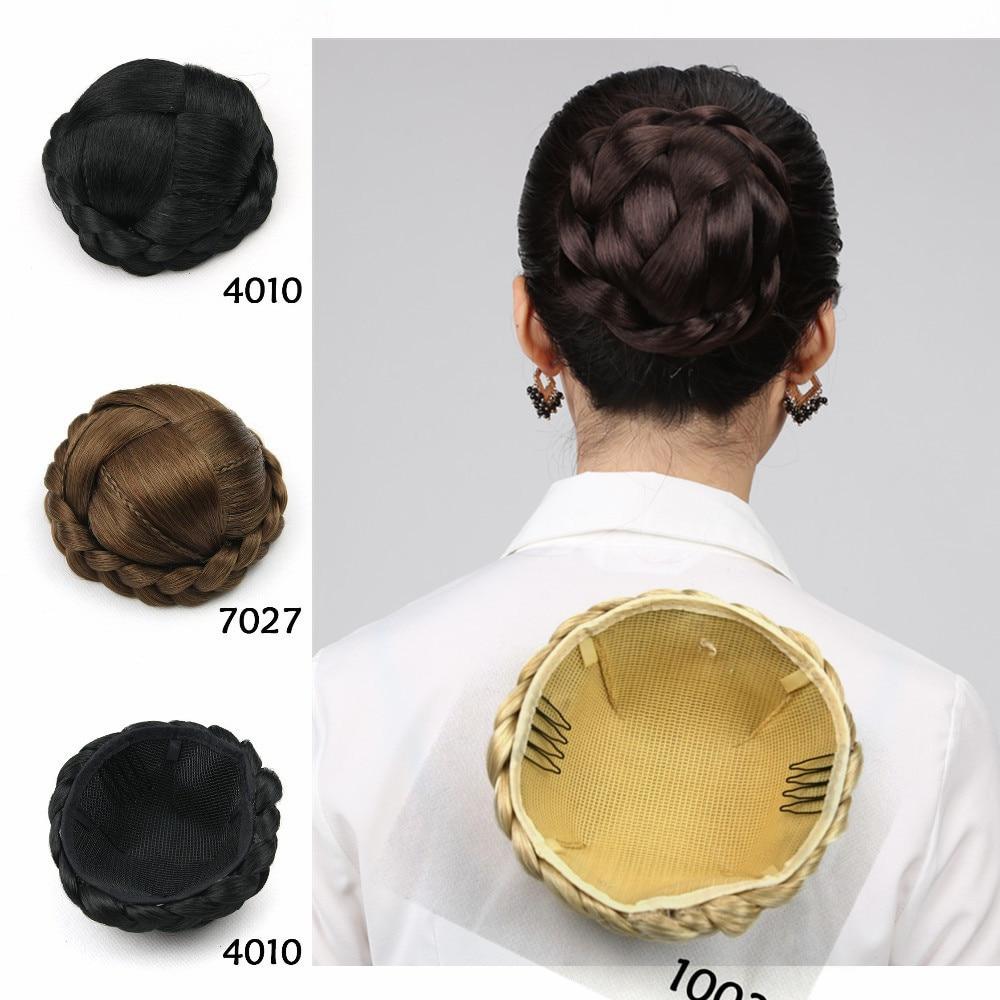 1 unid sintético pernos de pelo Head accesorios Hairgrips Vintage Hair extensiones Bun pelo trenzado moño