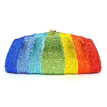 LaiSC Rainbow color evening bag Full Crystal Clutch Purse Party pouch SC322