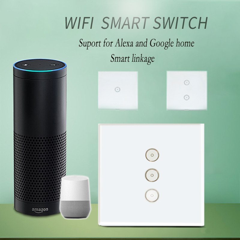 Work with Amazon Alexa Google home Smart Wi-Fi Glass Panel 110~240V EU Touch Light wall Switch tuya app for smart home work with amazon alexa google home 90 250v smart wi fi switch glass panel uk 3gang touch light wall switch ewelink app