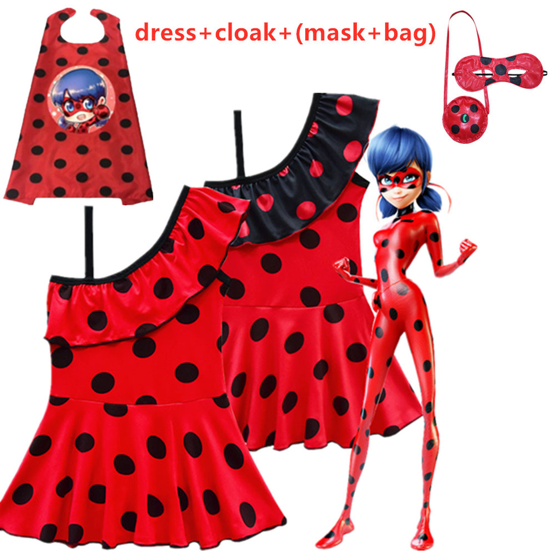 New sale Lady Bug Red Dot birthday Party Dress toys masks Costume Kids Girls Clothes Moana Ladybug Halloween Cosplay Dress