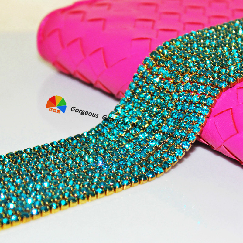 10yds SS6 SS8 SS12 SS16 Blue Zircon Close Set rhinestone cup chain diamond banding trims for DIY Garment hairband browband dress