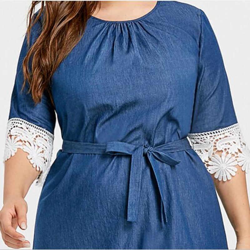 Платье из джинсовой ткани большой Размеры джинсы платье большой Размеры Летняя туника свободные 2018 Для женщин кружевное платье Жан Женская одежда 5xl Синий 200 кг QC439