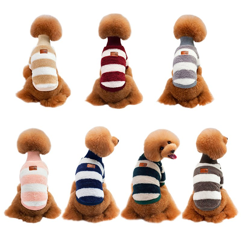 Autumn Winter Pet Dog Coat Clothing Striped Design Cashmere Pet Dog Jacket Clothes Two Feet Sweaters for Dogs