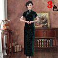 Green Chinese Traditional Women's Hand-Made Button Long Cheongsam Top Chinese Elegant Qipao Dress Size S M L XL XXL 02