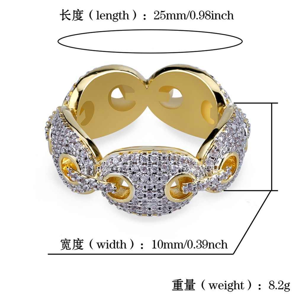 TOPGRILLZ Hip Hop nowy projekt Iced Out Chain Link pierścień Micro Pave AAA cyrkon złoty kolorowy platerowany pierścień dla mężczyzn Bling Party prezent