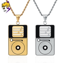 Hip Hop Hippie DJ Disc Necklaces Stainless Steel Gold Color Chain Long Necklace Beat Matching Pendant Corrente Masculina Jewelry