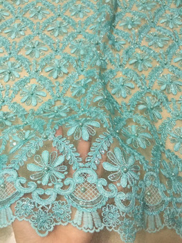 2018 Bead Embroider French Lace Fabric African Women Tulle French Lace For Party Nigerian Lace Fabric Net Tulle Lace Material CD
