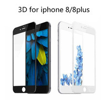 ФОТО screen protector for iPhone8 3d soft edge full curved tempered glass for iPhone8 plus protective film glass on for iPhone 8 plus