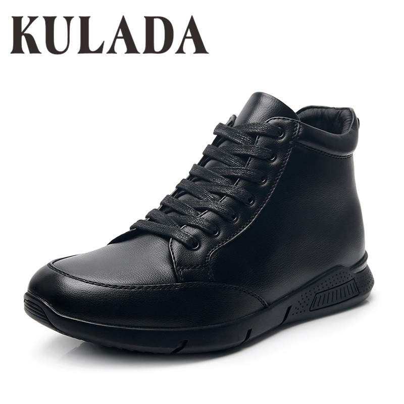 KULADA New Boots Men's Winter Shoes Men Outdoor Activity Casual Boots Thick Fur High Top Men's Winter Shoes High Quality Shoes