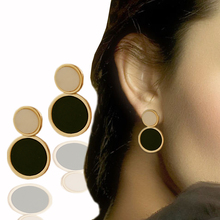 fine luxury brand designed dual round Acrylic Gold color Stud Earrings For Women Gift