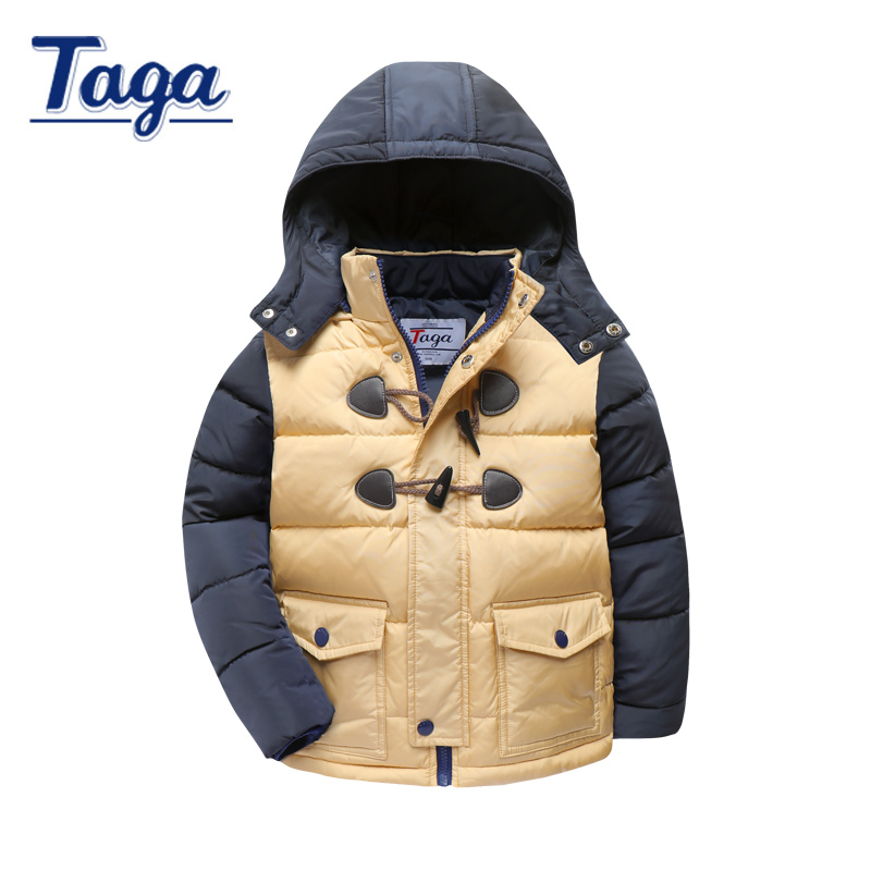 TAGA Baby Boys Jackets Children's Winter Coat for girls Snowsuit solid Hooded Down Parkas Children outfit Clothing 3-14Y Fashion 2016 winter boys ski suit set children s snowsuit for baby girl snow overalls ntural fur down jackets trousers clothing sets
