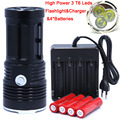 3T6 led Flashlight light 3*CREE  XM-L T6  torch 3 Mode 6000 Lumen Flashlight with 4x18650 Rechargeable Battery + charger