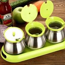 Kitchen Supplies  Stainless steel Swivel Seasoning Box Spice Jar Storage Bottles Jars Herb Spice Tools Sauce Pot Set