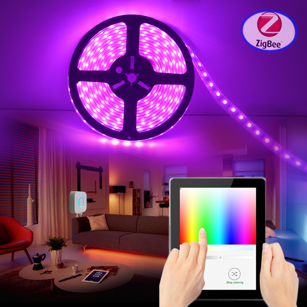 Lighting Rgb Us 42 9 34 Off Jiawen Smart Zigbee Control Rgbw Rgb Ct Dc 12v Led Light Strip Work With Major Bridges Gateways Free Shipment In Led Strips From