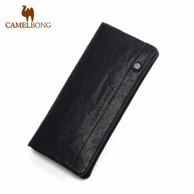 FINKRS New 2016 Brand Designer Top Cowhide Leather Men's Long Wallet Clutch Wrist Bag black Men Wallets and Purses Card Holder