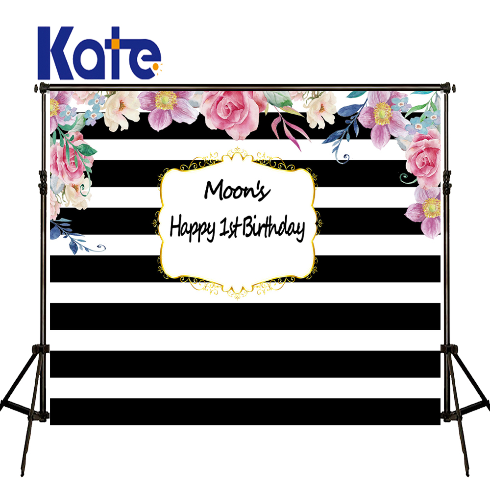 KATE Photography Backdrops Birthday Photocall Personalizado Newborn Custom Photography Backdrop Black and White Striped Backdrop kate newborn birthday photography