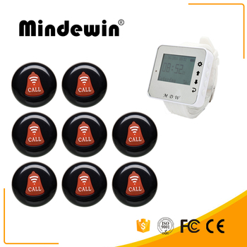 Mindewin Wireless Pager System 1 Wrist Watch M-W-1 8 Multicolor Call Buttons M-K-1 Restaurant Queuing Service Calling Sy