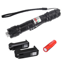 Powerful 5MW Red Green Purple Lazer Pen Light Military Adjustable Focus Laser Pointer with 18650 Battery Charger HT3-0021