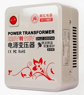 Expédition rapide SHJZ-2000VA 220 v à 110 v 2000 W contrôle de température abaisseur transformateur de convertisseur de tension convertit la bobine de cuivre
