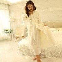 New Winter Women's Long Nightgown Robe Women White Silk Sleepwear Two Pieces Set Warm Robes Free Shipping