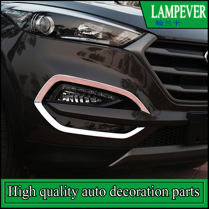 New 2pcs Chrome Front Fog Light Bezel Frame Cover Trim For Hyundai Tucson 2015 2016 2017 Front Fog Lamp Covers Trim