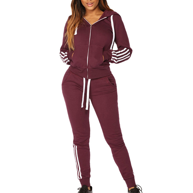 Women's Striped Sports Hooded Jacket and Sweatpants Set  4 colors