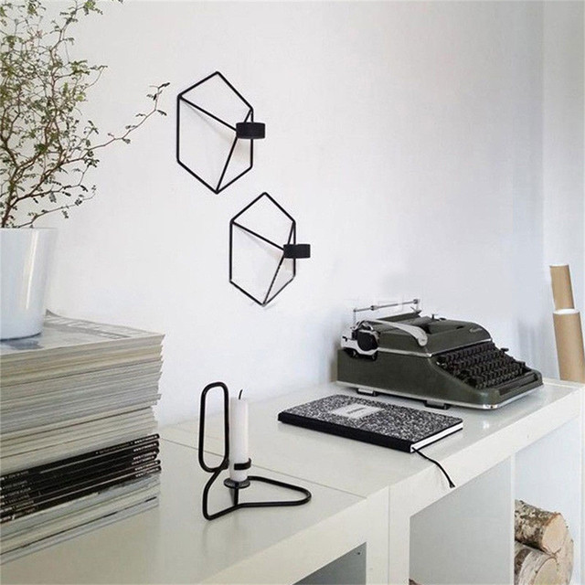 Nordic Styled Geometric Shaped Metal Wall Candle Holder