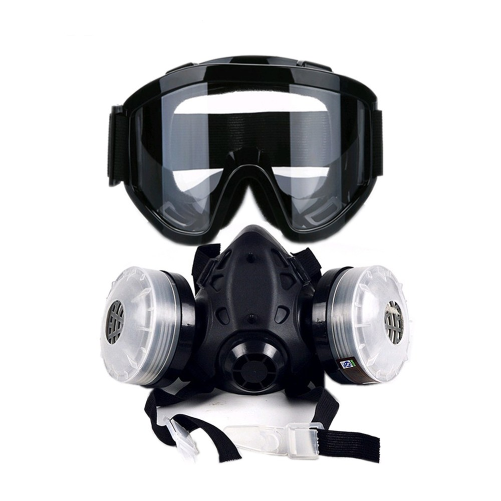 Safurance Half Face Gas Mask With Anti-fog Glasses Chemical Dust Mask Filter Respirators for Painting Spray Welding skull style half face mask old silvery