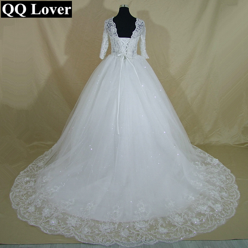 QQ Lover 2019 New Half Sleeves Luxury Lace Beaded Ball Gown Wedding Dress Custom made Bridal