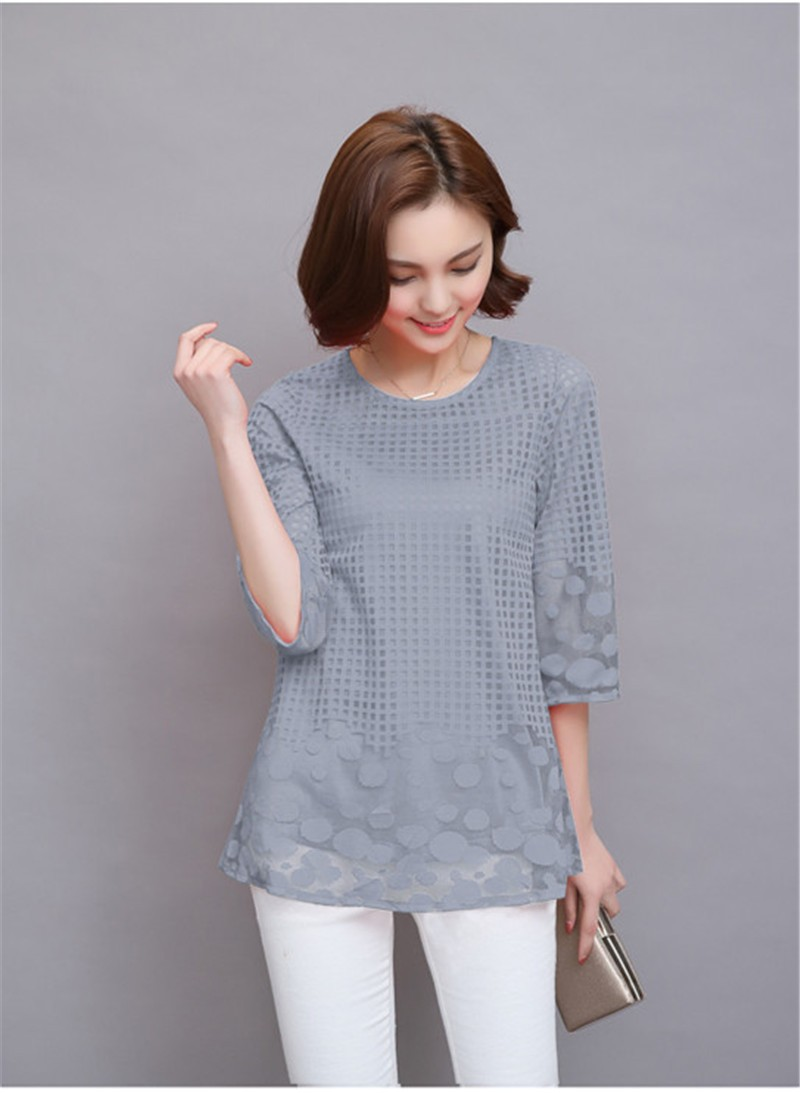 Plus Size 4XL 5XL 6XL  Luxury Lace O Neck  Women Blouse Shirt Noble Long Mesh sleeve Shirt Blouse Vintage tops Blusas Femininas (33)