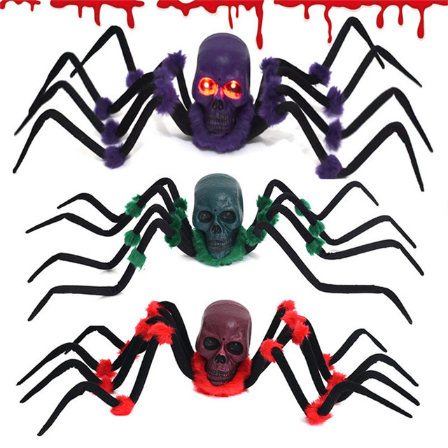 Halloween Decorations Spider Plastic Fake Spider Prank Toys Halloween Scary Props Reptile Multicolor Spider Haunted House Props