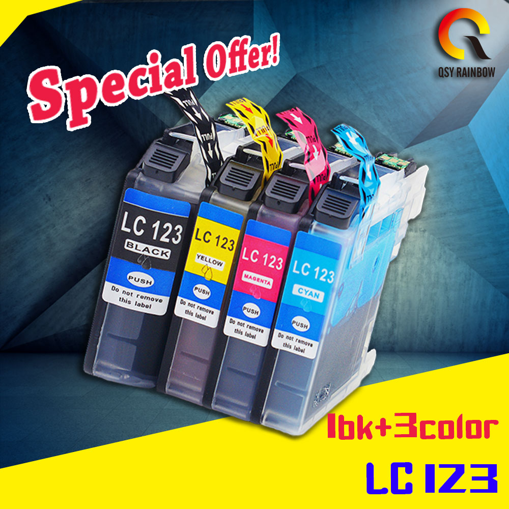 4pcs LC121 LC 123 LC123 ink cartridge For Brother DCP-J552DW/DCP-J752DW/MFC-J470DW/MFC-J650DW Inkjet Printer refillable ink cartridge for brother lc213 for brother mfc j4410dw j4510dw j4610dw j4710dw j470dw j6920dw dcp j4110dw j132w
