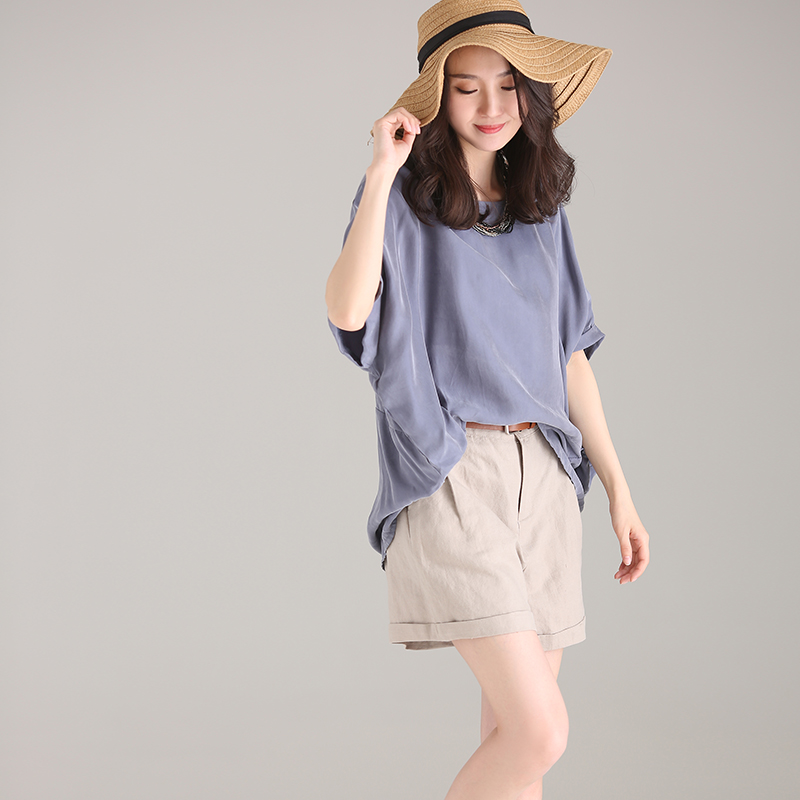 C7211 big code, round neck pure color copper ammonia bat short sleeve shirt female 2018 summer-in Blouses & Shirts from Women's Clothing    2