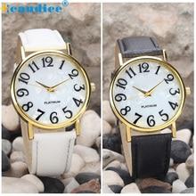 Великолепный дизайн Для женщин Ретро цифровой циферблат кожаный ремешок Кварцевые наручные часы Аналоговые наручные часы Masculino Reloje