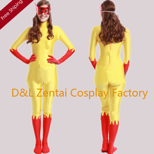 Free Shipping DHL Women Yellow And Red Marvel Comics Firestar Lycra Spandex Superhero Costume with Mask Back Zipper SHS410