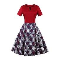 Chic Hepburn Dress Retro Vintage 1950s 60s Rockabilly Swing Vestidos Fit Flare Poker Dresses Plus Size