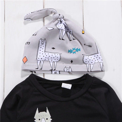 3Pcs Newborn Toddler Baby Alpaca Set Clothes 0-24M 5