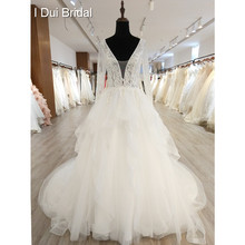 Long Sleeve Wedding Dress Deep V Neckline Low Back Bridal Gown High Quality(China)