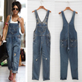 New Fashion Women's Loose Denim Overalls Cowboy Straps Full Length Trousers Harem Pants Dungaree Holes Denim Rompers JL-1029