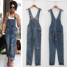 New Fashion Women's Loose Denim Overalls Cowboy Straps Full Length Trousers Harem Pants Dungaree Holes Denim Rompers JL-1029