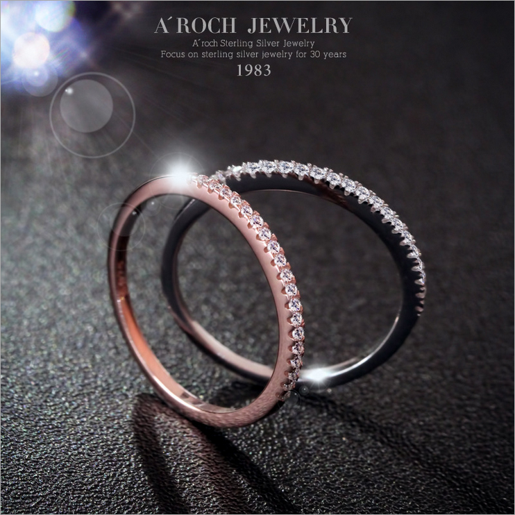 Classic Design Promotion Көтерме 2017 Сән Әйелдер Кристалл Зергерлік бұйымдар Simulated Zircon Party Rings 925 Sterling Silver Ring