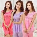 Verão Novas Senhoras Sexy Pijamas Set Lace Pijamas Pijama Gelo de seda de Manga Curta Dot Impresso Shorts 2 Peça Definir Ternos roupa de dormir