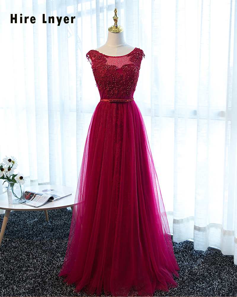LS65470 elegant evening dress lace tulle floor length cap sleeve ...