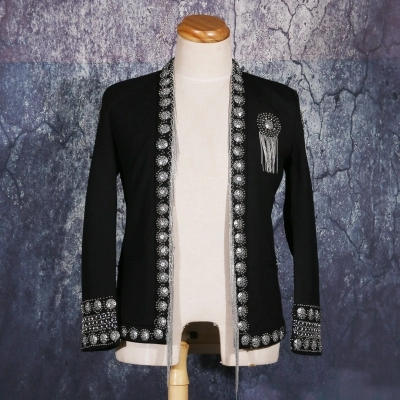 Mens Black Beading Tassel Jacket Club/stage Performance/studio/Asia Size/this Is Only Jacket